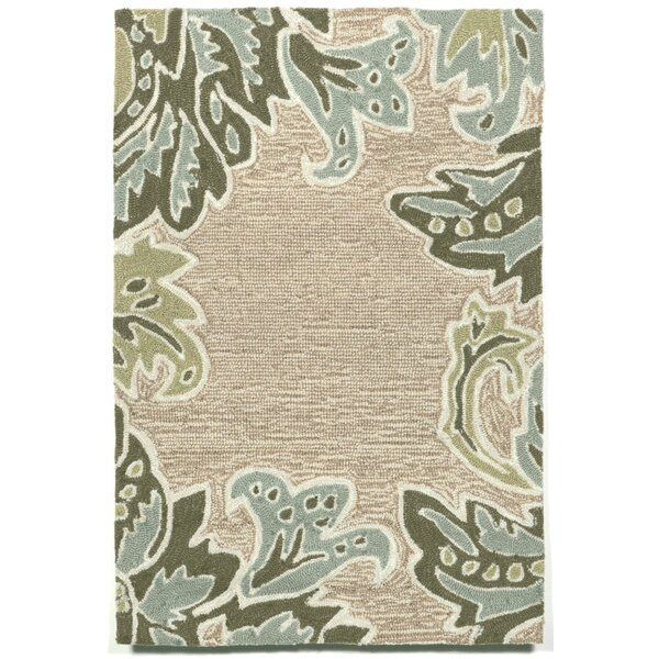 Cosmo Ornametal Leaf Border Aqua Indoor/Outdoor Rug by Latitude Run