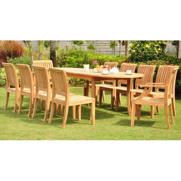 Leer Luxurious 11 Piece Teak Dining Set by Rosecliff Heights