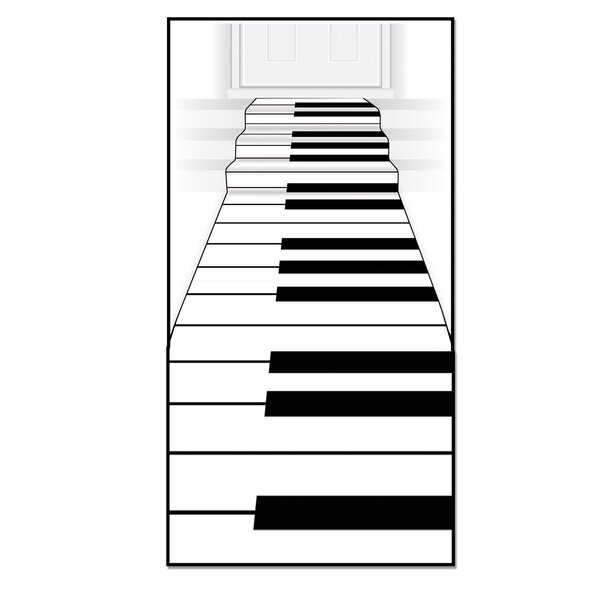 Piano Keyboard White/Black Area Rug by The Holiday Aisle