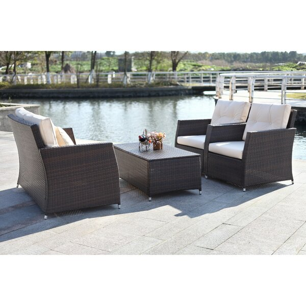 Gilson 4 Piece Rattan Sofa Seating Group with Cushions by Alcott Hill