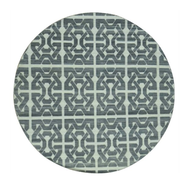 One-of-a-Kind Durie Kilim Flat Weave Reversible Hand-Knotted Black/Ivory Area Rug by Latitude Run
