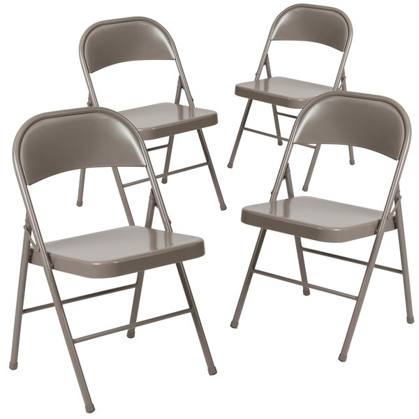 Laduke Double Braced Metal Folding Chair (Set of 4) by Symple Stuff