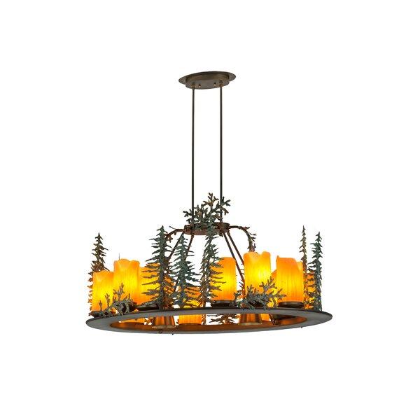 12 - Light Candle Style Wagon Wheel Chandelier By Meyda Tiffany