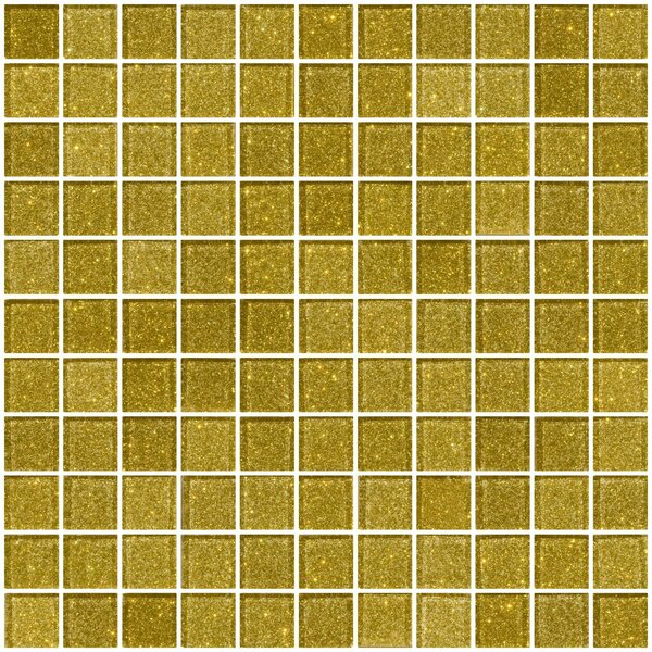 1 x 1 Glass Mosaic Tile in Dark Gold by Susan Jablon