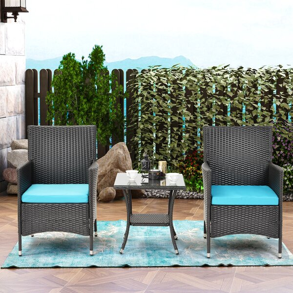 Avyonna Rattan 3 Piece Bistro Set with Cushions