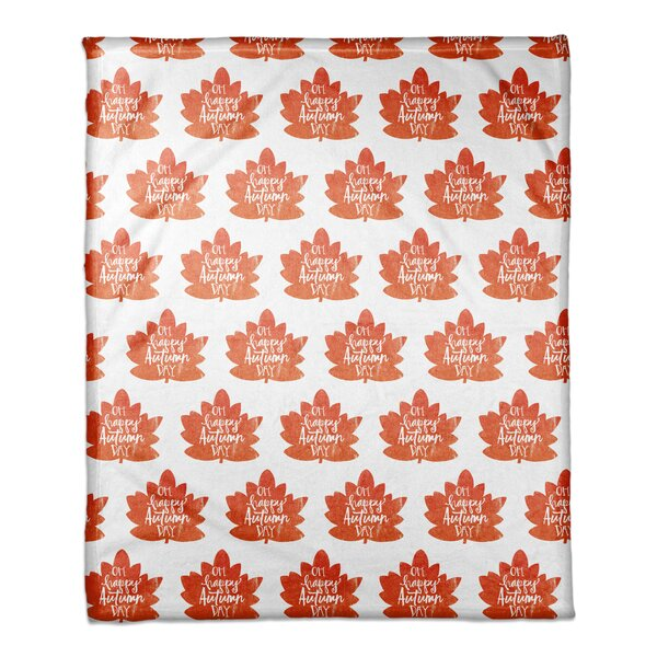 Fall Leaves Pattern Coral Fleece Throw by The Holiday Aisle