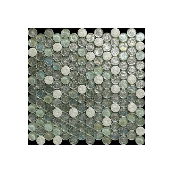 Bianco Glass Mosaic Tile in Light Gray/Turquoise by Kellani