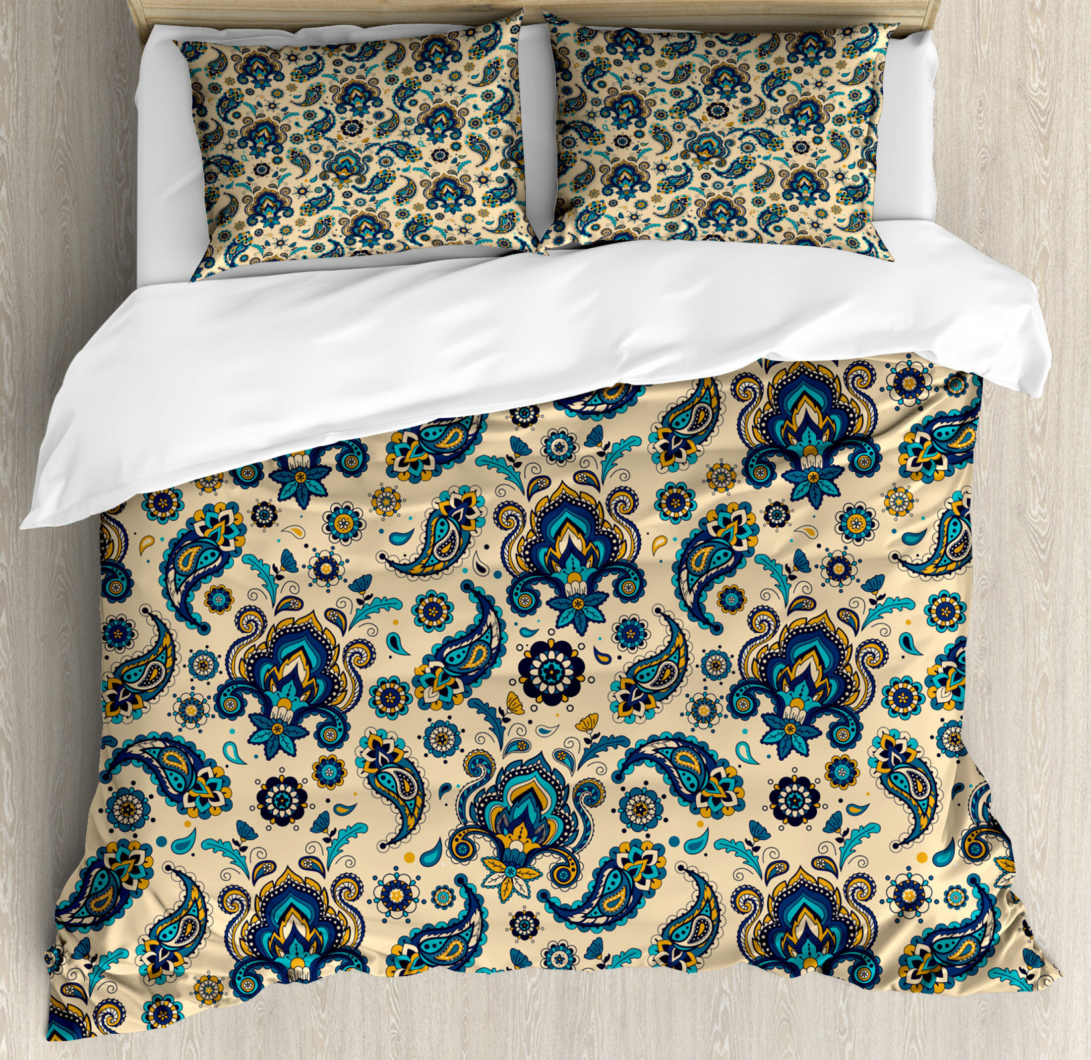 Paisley Quilt Duvet Cover Pillowcase Bedding Bed Set Colourful Floral Stylish
