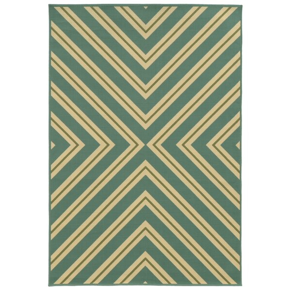 Heath Blue/Ivory Geometric Outdoor Area Rug by Ebern Designs