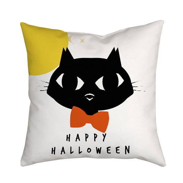 Holiday Treasures Bowtie Cat Textual Throw Pillow by Positively Home