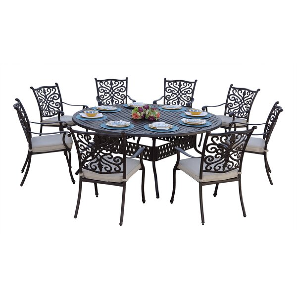 Archway Traditional 9 Piece Dining Set with Cushions by Astoria Grand