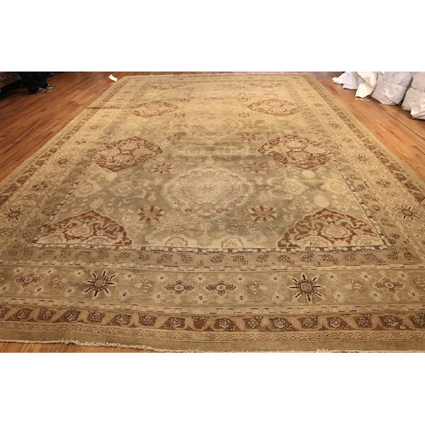 One-of-a-Kind Amritsar Hand-Knotted 1900s Ivory 11'2 x 16'7 Wool Area Rug