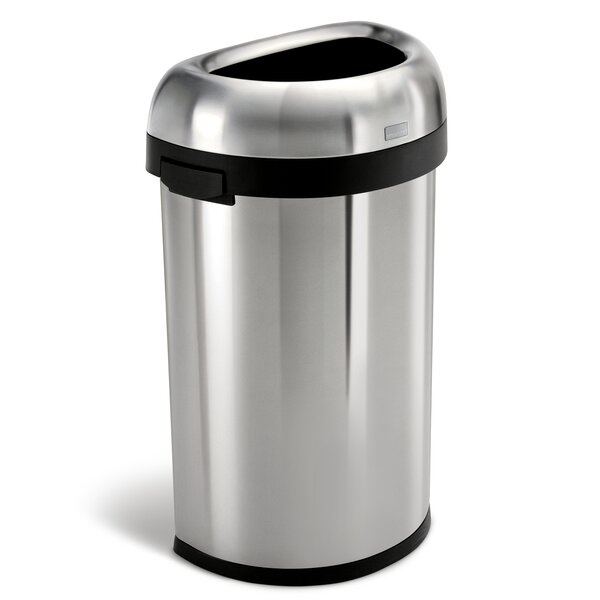 16 Gallon Semi-Round Open Trash Can, Heavy-Gauge Brushed Stainless Steel by simplehuman