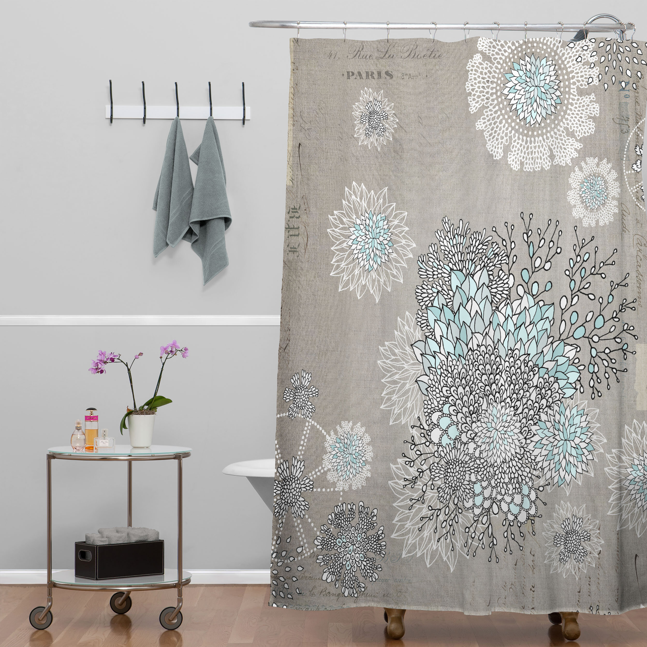 Bungalow Rose Holley French Blue Extra Long Shower Curtain ...