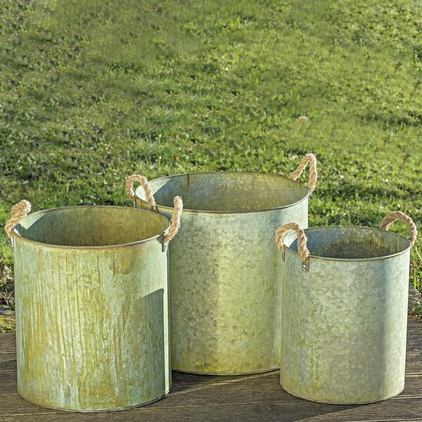 Shook 3 Piece Metal Pot Planter Set by August Grove