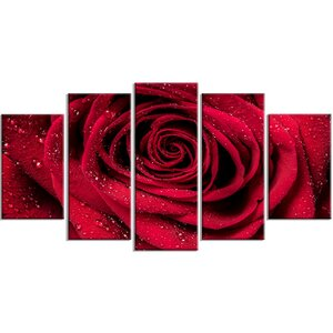 'Red Rose Petals with Rain Droplets' 5 Piece Wall Art on Wrapped Canvas Set by Design Art