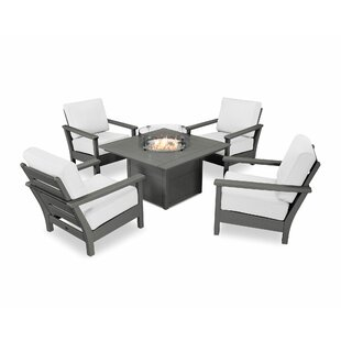Harbour 5 Piece Sunbrella Complete Patio Set By POLYWOOD®