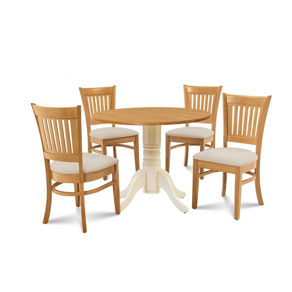 Zebulon 5 Piece Drop Leaf Dining Set by Millwood Pines Millwood Pines