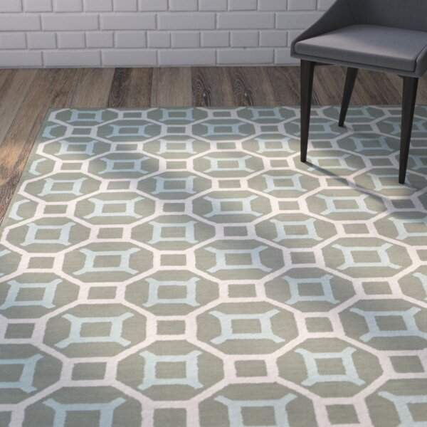 Sheeran Hand-Woven Cotton Aquamarine/White Area Rug by Wrought Studio