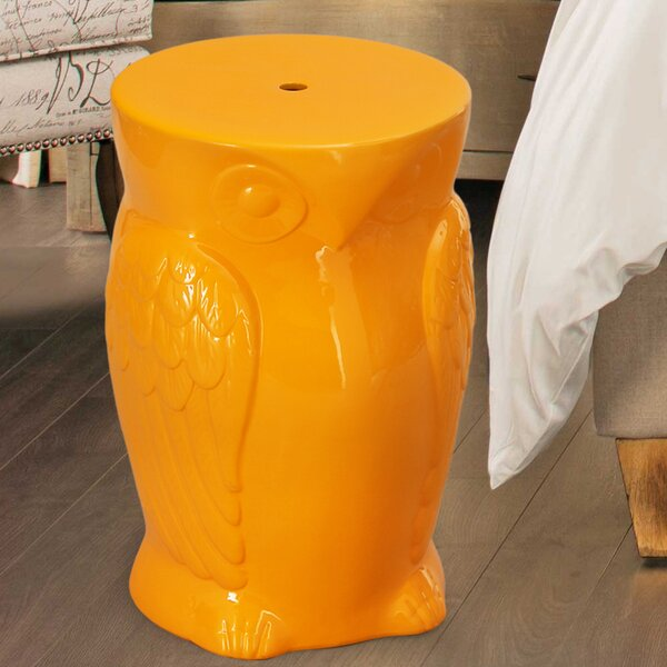 Wise Old Owl Ceremic Garden Stool by Adeco Trading