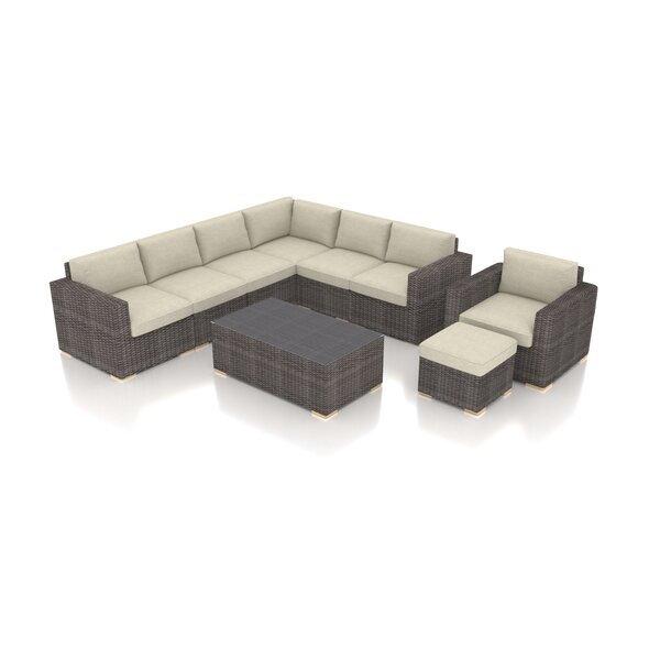 Holcomb 9 Piece Rattan Sectional Seating Group with Sunbrella Cushions by Rosecliff Heights