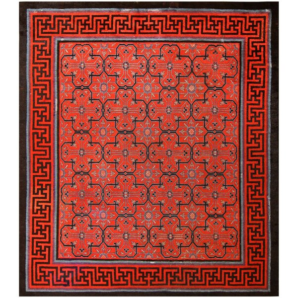 One-of-a-Kind 18th Century Hand-Knotted Before 1900 Red 12' x 14' Wool Area Rug