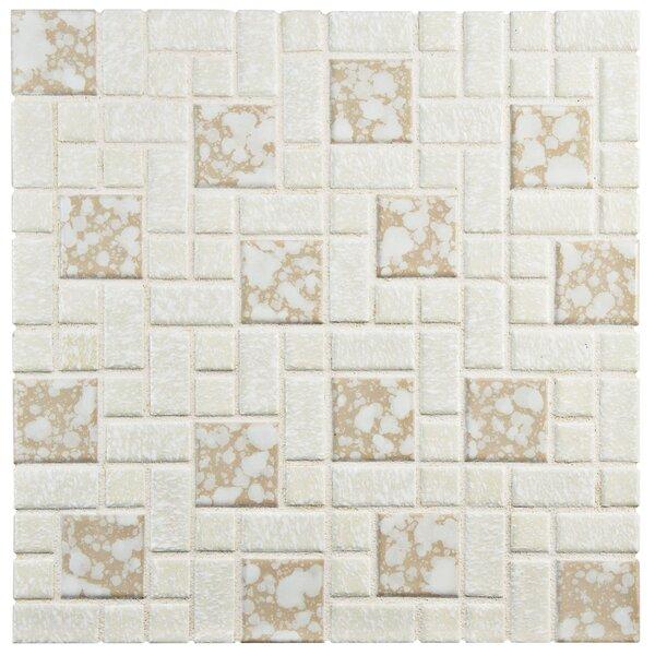 Academy Random Sized Porcelain Mosaic Tile in Bone by EliteTile