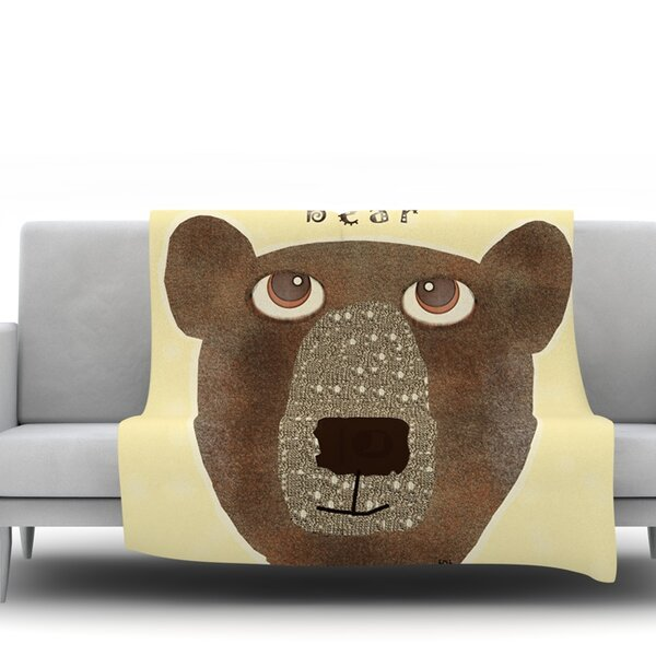 Bear by Bri Buckley Fleece Throw Blanket by East Urban Home