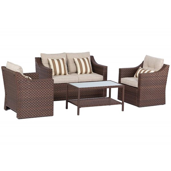 Exley 4 Piece Sofa Seating Group with Cushion by Bay Isle Home
