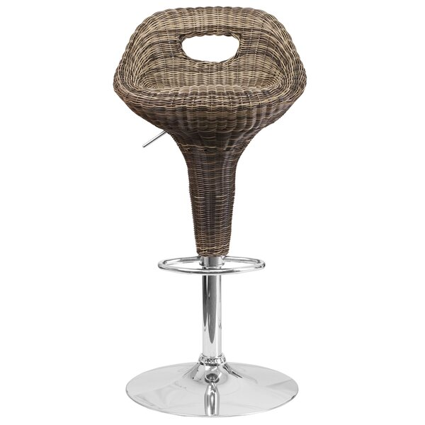 Triston Adjustable Height Swivel Bar Stool by Highland Dunes