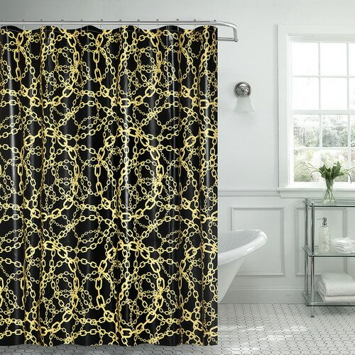 Albright Cadena Amarilla Chain Vinyl Shower Curtain with Matching Roller Hook by Ebern Designs