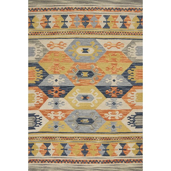 Crume Hand-Tufted Wool Gray/Blue/Orange Area Rug by Bungalow Rose