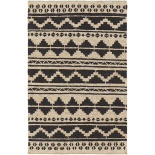 Inexpensive Columbia Hand-Woven Black Area Rug By Loon Peak