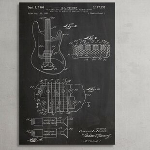 Patent Prints Fender Bass Guitar Graphic Art On Wrapped Canvas