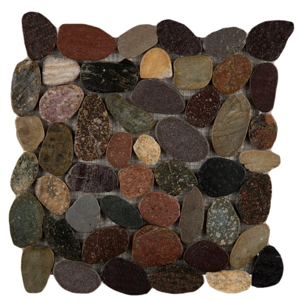 Flat Rivera Pebbles 12 x 12 Mosaic in Natrual Blend by Emser Tile