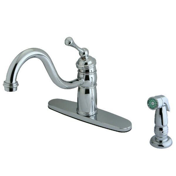 Victorian Mono Deck Mount Single Handle Kitchen Faucet with Side Spray by Kingston Brass