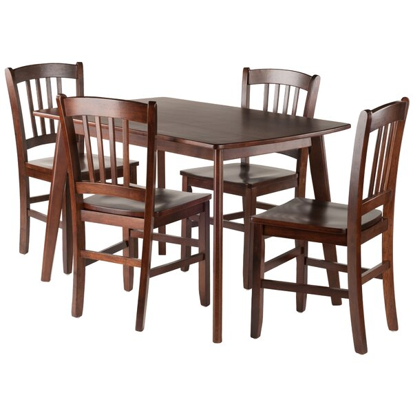 Guynn 5 Piece Solid Wood Dining Set by Winston Porter