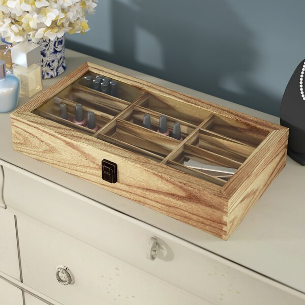 Wooden Eyewear Tempered Glass Display Case Accessory Box by Charlton Home