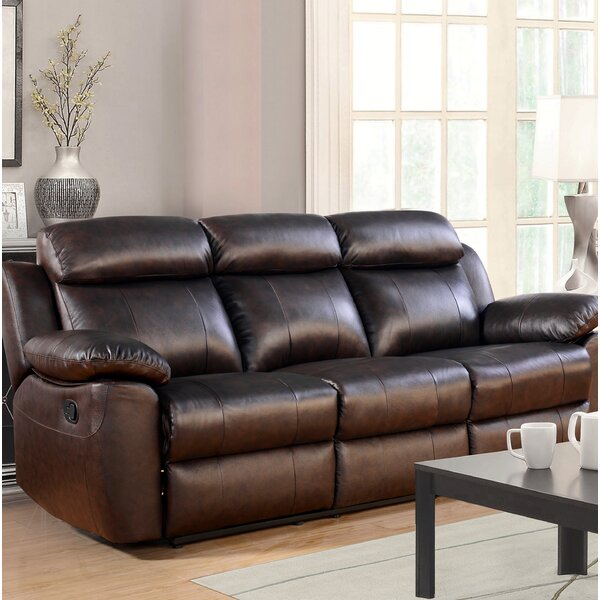 Top Offers Bima Leather Reclining Sofa by Red Barrel Studio by Red Barrel Studio