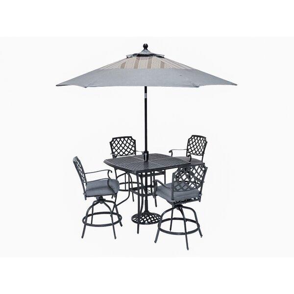 Pinheiro 5 Piece Sunbrella Bar Height Dining Set with Cushions by Canora Grey