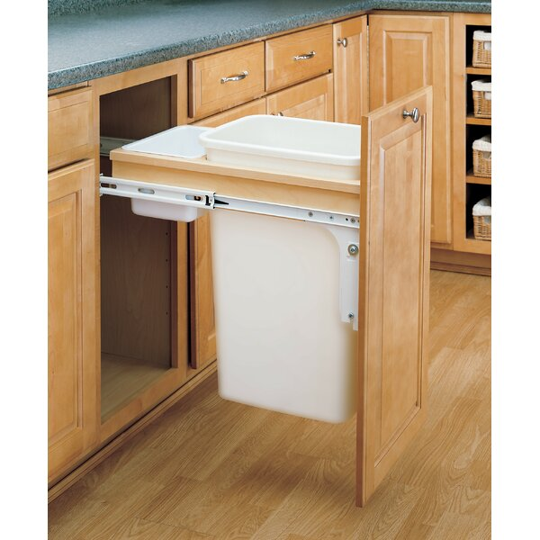 Double Top Mount 12.5 Gallon Pull Out/Under Counter Trash Can by Rev-A-Shelf
