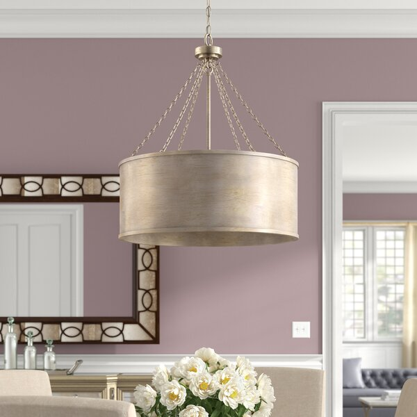 Bowe 6 - Light Shaded Drum Chandelier by Willa Arlo Interiors Willa Arlo Interiors
