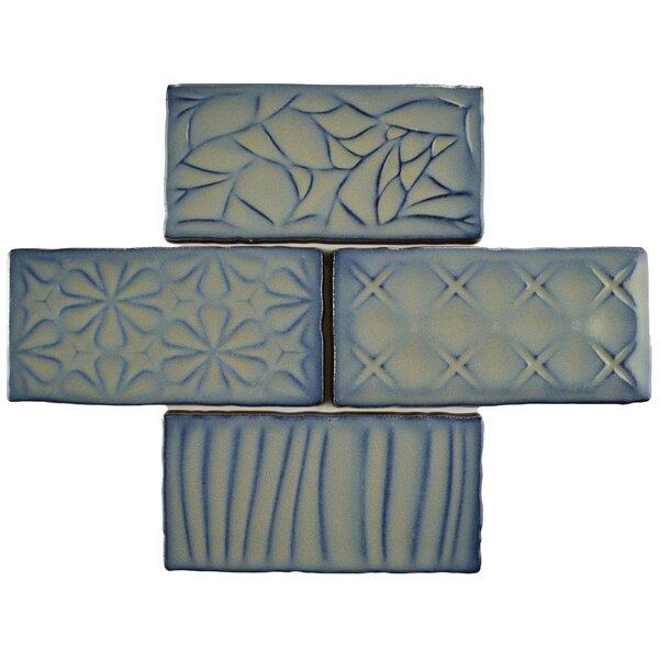 Antiqua Sensations 3 x 6 Ceramic Subway Tile in Gray/Navy by EliteTile