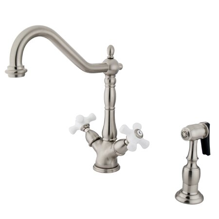 Heritage Double Handle Kitchen Faucet with Side Sprayer by Kingston Brass