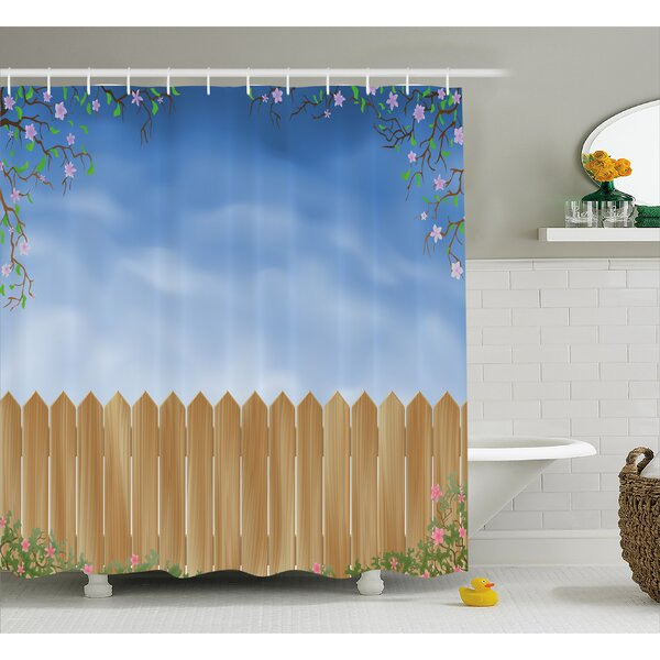 Wooden Swiled Spring Season Shower Curtain by East Urban Home