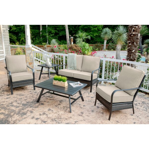 Becerra 5-Piece Commercial-Grade Patio Set with 2 Aluminum/Woven Club Chairs Loveseat Slat Coffee Table and Slat Side Table by Charlton Home