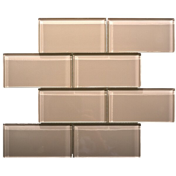 Premium Series 3 x 6 Glass Subway Tile in Beige by WS Tiles