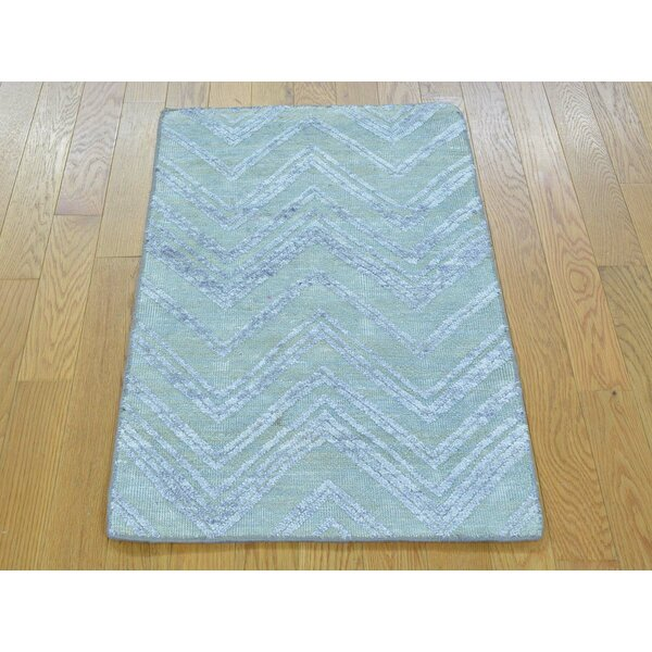 One-of-a-Kind Belville Zig Zag Design Hand-Knotted Blue Wool/Silk Area Rug by Isabelline