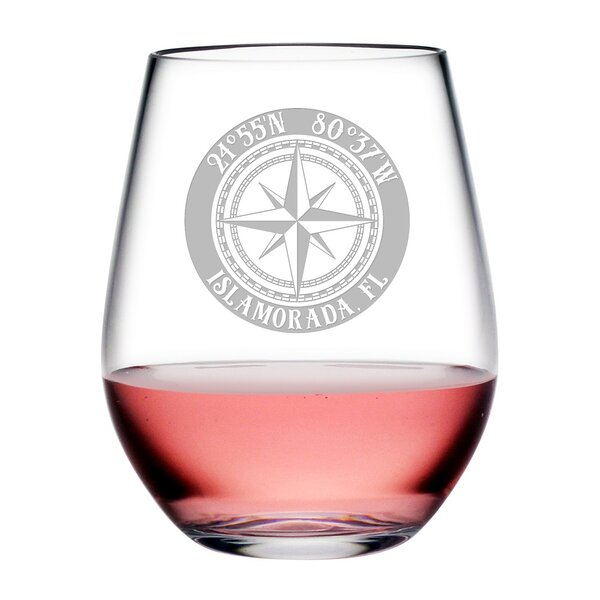 Compass Rose Weil Plastic 20 oz. Stemless Wine Glass (Set of 4) by Longshore Tides