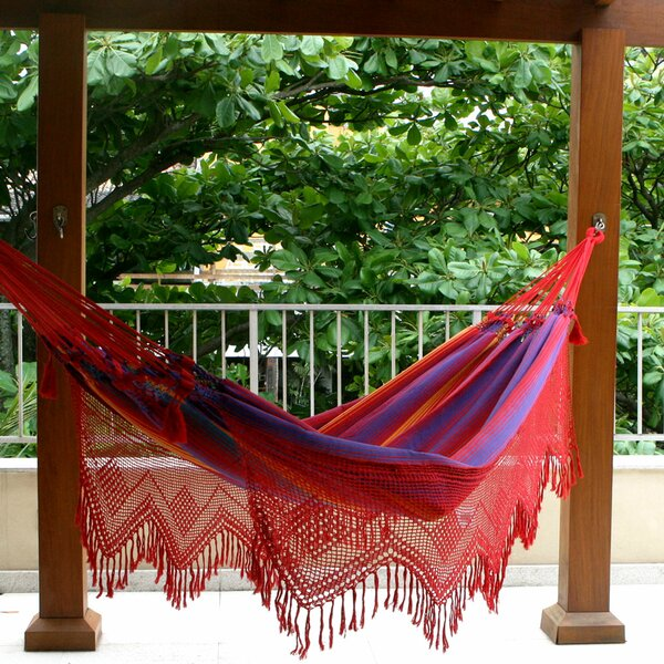 Double Person Fair Trade Striped  Hand-Woven Brazilian Sustainable Cotton with Crocheted Fringes Indoor And Outdoor Hammock by Novica